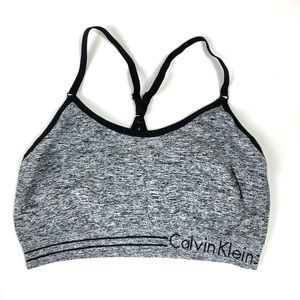 Calvin Klein Grey and Black Leisure Athletic Bra